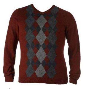 Apt 9 Red Argyle Wool Blend Long Sleeve Sweater-XL
